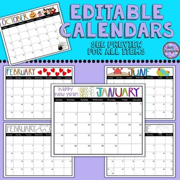 Editable Classroom Calendars - Color and Black and White 2018-19
