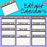 Editable Classroom Calendars -  B & W Polka dots, Glitter