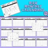 Editable Classroom Calendars -  Black and White 19-20 w/stickers - Inksaver!