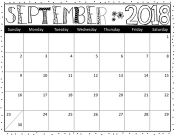 Editable Classroom Calendars -  Black and White 2018-19 - Inksaver!