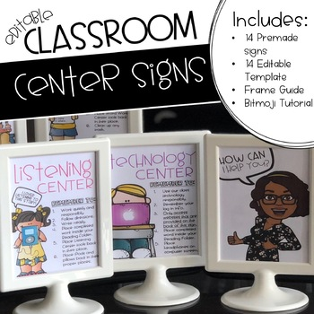 Editable Classroom Centers Signs