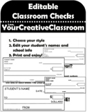 Editable Classroom Checks
