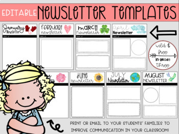 Editable Classroom Communication Newsletter (8 Weekly & Monthly Versions)