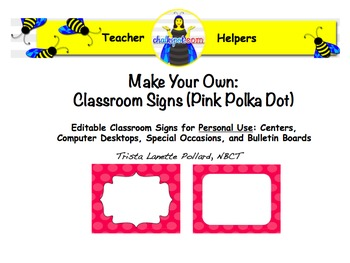 Editable Classroom and Computer Signs (Pink Polka Dot)