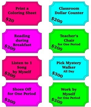 Editable Classroom Coupons and Economy