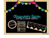 Classroom Decor: Burlap & Black Brights with bunting (editable)