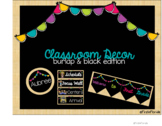 Classroom Decor: Burlap & Black Brights with bunting (editable)
