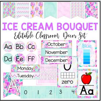 Editable Classroom Decor - Ice Cream Tropical Floral