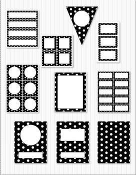 Editable Classroom Decor Package Black Polka Dots