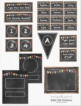 Chalkboard Editable Classroom Decor Package