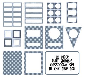 Editable Classroom Decor Package Blue Polka Dots