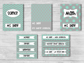 Editable Classroom Decor Package Grey and Mint