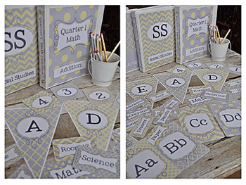 Editable Classroom Decor Package Grey and Yellow