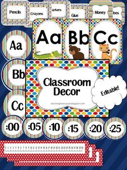 Editable Classroom Decor - Primary Colors