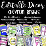 Editable Classroom Decor and Label Set: Chevron Brights