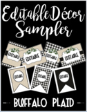 Editable Classroom Decor and Label Set Sampler: BUFFALO PLAID