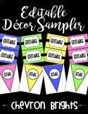 Editable Classroom Decor and Label Set Sampler: CHEVRON BRIGHTS