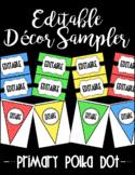 Editable Classroom Decor and Label Set Sampler: PRIMARY POLKADOT
