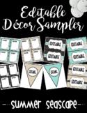 Editable Classroom Decor and Label Set Sampler: SUMMER SEASCAPE