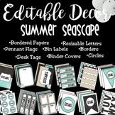 Editable Classroom Decor and Label Set: Summer Seascape