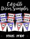 Editable Classroom Decor and Label Set Sampler: TEXAS PRIDE