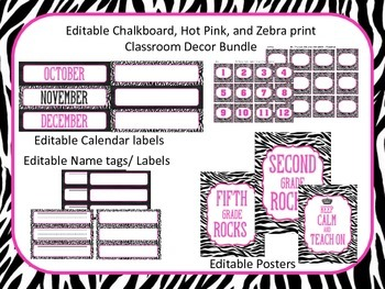 Classroom Decor (Editable Chalkboard, Hot Pink, and Zebra Print)