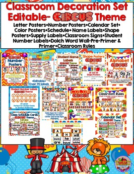 Editable Classroom Decoration Set- Circus Theme