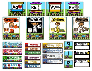 Editable Classroom Decoration Set- Train Theme
