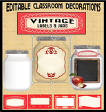Editable Classroom Decorations:  Vintage Labels and Jars