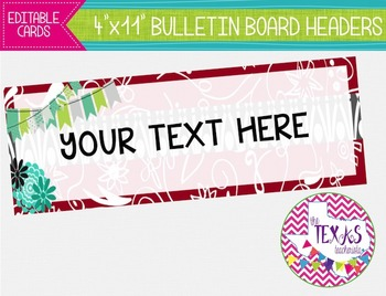 Bulletin Board Headers - Red, Aqua and Grey {EDITABLE}