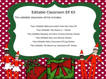 Editable Classroom Elf Kit