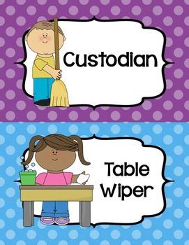 """Job Chart """"Classroom Helpers"""" - Editable! - Cute Polka Dots"""
