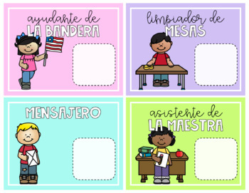 Editable Classroom Helpers in Spanish {Pastel Colors}