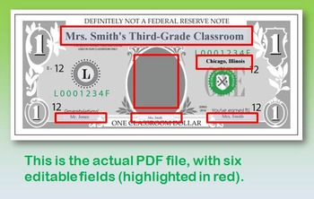 Editable Classroom Incentive Money (PDF and PNG) - $1 and $5 bills