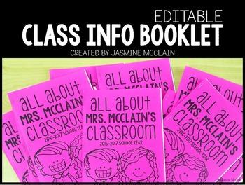 Editable Classroom Information Booklet