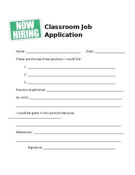 Editable Classroom Job Application