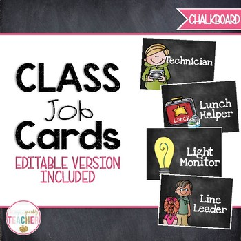 Editable Classroom Job Cards {Chalkboard}