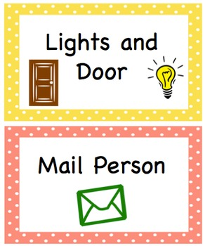 Editable Classroom Job Cards - Spanish and English
