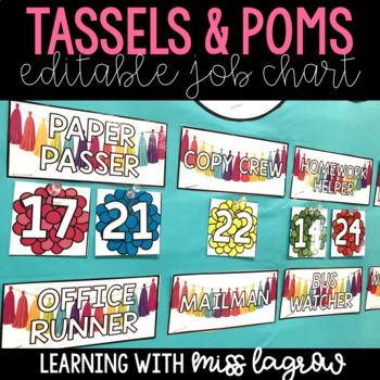 Editable Classroom Job Chart Bulletin Board Labels - Tassels and Poms