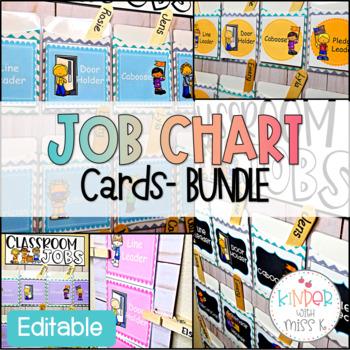 Editable Classroom Job Chart Cards Bundle