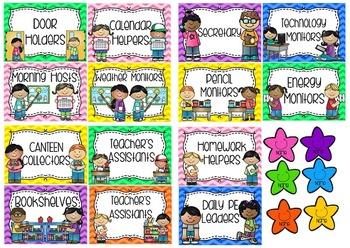Editable Classroom Job/Helpers Chart - Rainbow Chevron