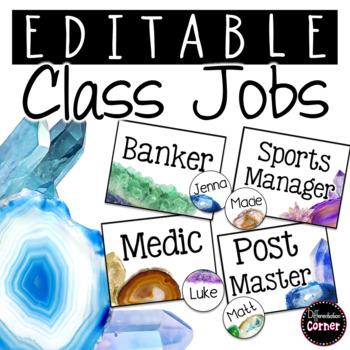 Editable Classroom Jobs- Agate Classroom Decor