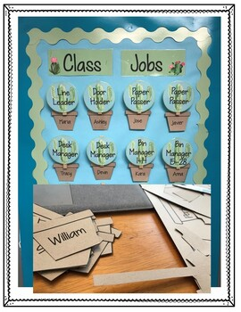 Classroom Jobs Editable Cactus - Cactus Classroom Decor