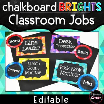Editable Classroom Jobs- Chalkboard Brights Classroom Decor