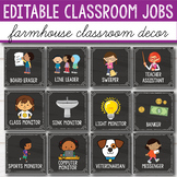 Editable Classroom Jobs with Pictures - Chalkboard Classroom Decor