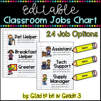 Editable Classroom Jobs Chart ~ School Themed