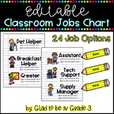 Editable Classroom Jobs Chart ~ School Themed