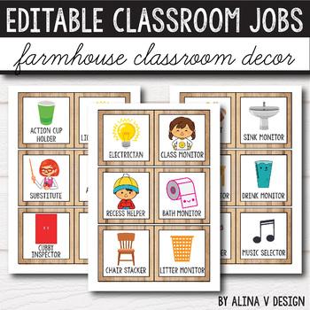 Editable Classroom Jobs - Farmhouse Classroom Decor