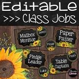 Editable Classroom Jobs- Farmhouse Classroom Decor