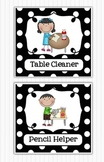 Editable Classroom Jobs Helpers - Black and White Polka Dots - 46 cards